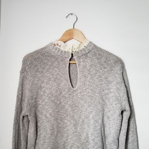 Lacy Knit High Neck Long Sweater